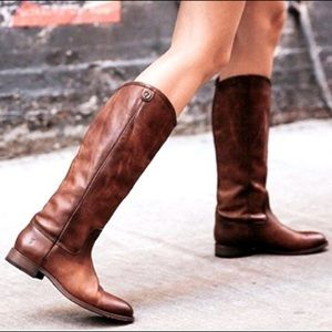 Frye Melissa Button 2 Low Heel Leather Boots
